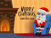 Christmas Character Santa Claus Eating Vector Background Design. Merry Christmas Greeting Text With  poster