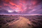 Spiritual Voyage Concept Rural Path Through Nature Reserve Under Amazing Sky  During Sunset, Trail L poster