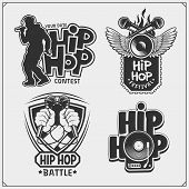 Hip-hop And Rap Emblems, Attributes And Accessories. Poster Templates And Design Elements. poster