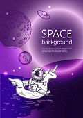 Space Background. Outline Astronaut, Planets, Satellites, Flying Saucers. Astronaut Swim On Swimming poster