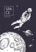 Space Background. Outline Astronaut, Planets, Satellites, Flying Saucers. Astronaut Catches A Planet poster