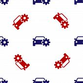 Blue And Red Car Service Icon Isolated Seamless Pattern On White Background. Auto Mechanic Service.  poster