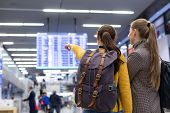 Two Women With Hand Luggages In Airport Looking At The Flight Schedule, Pointing To Their Flight. poster