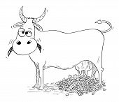 Vector Cartoon Stick Figure Drawing Conceptual Illustration Of Cash Cow Giving Or Milking Money. Con poster