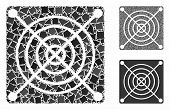 Mining Asic Hardware Mosaic Of Ragged Elements In Different Sizes And Color Tones, Based On Mining A poster