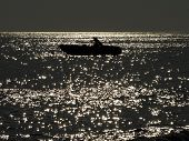 image of full_moon  - Little fishing boat on the sea at night lit by the moonlight - JPG