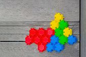 Connection Concept. Multi-colored Hexagons Connected Into One Whole. Green Blue Red Yellow poster