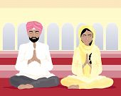 stock photo of punjabi  - an illustration of a sikh man and woman in traditional punjabi clothing praying in a gurdwara with yellow walls and arched windows - JPG
