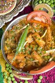picture of paneer  - Indian vegetarian dish with paneer and peas in a spicy sauce - JPG
