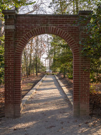 image of slave-house  - President George Washington home at Mount Vernon in Virginia at entrance to Slaves memorial - JPG