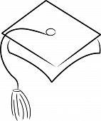 stock photo of graduation cap  - graduation hat or cap outline  - JPG