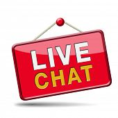 live chat icon. Chatting online button. Red placard