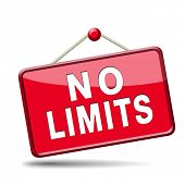 no limits or boundaries unlimited and without restrictions icon or sign