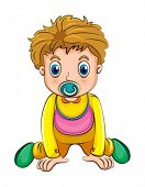 Illustration of a growing boy with a pacifier on a white background