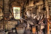 foto of blacksmith shop  - Old Blacksmith Shop in the American West - JPG