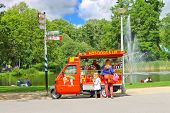 Snack Cart In City Park In Amsterdam. Netherlands