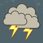 image of lightning  - Vector illustration of cool single weather icon  - JPG