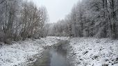 stock photo of ube  - beautiful landscape with winter Ubed river and forest - JPG