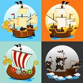 stock photo of viking ship  - An Illustration Of Various Pirate Ship  - JPG