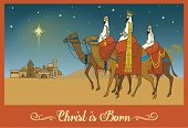 Three Wise Men Following the Bethlehem Star - Christmas Greeting Card with a scene from New Testamen