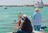 Two Female Artists  Painting In Venice.