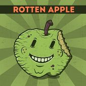 picture of maliciousness  - Funny cartoon malicious green monster apple on the scratchy retro background - JPG