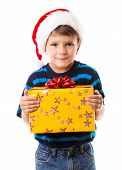 Cunning boy with gift box