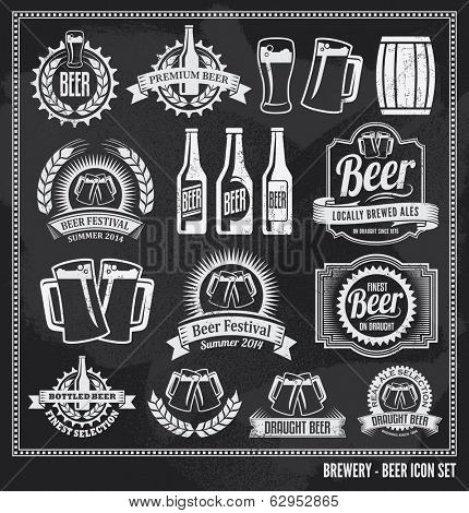 Beer icon chalkboard set - labels, posters, signs, banners, vector design symbols. Removable backgro poster