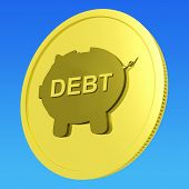 Debt Coin Means Money Borrowed And Owed