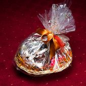 gift basket against red background