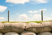 picture of sandbag  - trenches with barbed wire and sandbags world war one - JPG