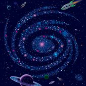 Picture of cosmic background galaxy and spaceships.