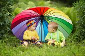 foto of rainy season  - cute little children under colorful umbrella outdoors - JPG