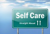 picture of personal care  - Highway Signpost with Self Care related wording - JPG