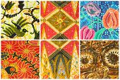 Set of batik sarong pattern background traditional batik sarong in Asian