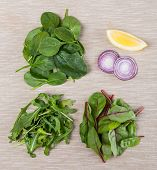 Ingredients For Fresh Salad From Leafs Of Beet, Spinach