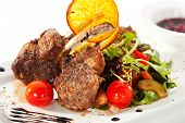 Grilled Rack of Lamb with Mushrooms Sauce and Vegetables