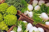 picture of romanesco  - Romanesco broccoli and fennel for sale at a market - JPG