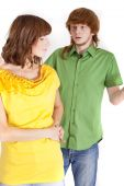 stock photo of fornication  - conflict between man and woman  - JPG
