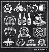stock photo of chalkboard  - Beer icon chalkboard set  - JPG
