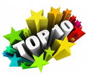 stock photo of ten  - Top 10 Stars Ten Best Score Rating Review - JPG