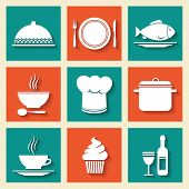 Restaurant cafe icons set