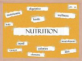 Nutrition Corkboard Word Concept
