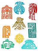 picture of monster symbol  - Ancient maya elements and symbols set of religious design - JPG