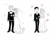 Doodle Couple On Wedding Ceremony