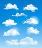 stock photo of spring-weather  - Set of transparent different clouds - JPG