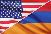 Series Of Ruffled Flags. Usa And Armenia.