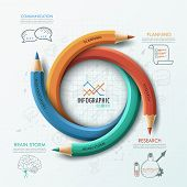 image of sketche  - Modern infographic template with 4 curved colorful pencils and hand drawn sketches on paper background - JPG
