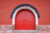 stock photo of mausoleum  - Gate of Ming Tower of Ming Xiaoling Mausoleum in Purple Mountain - JPG