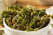 image of kale  - Homemade Green Kale Chips with Vegan Cheese - JPG